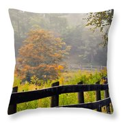 Autumn Along The Fence Throw Pillow