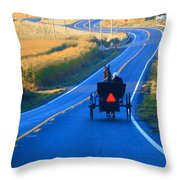 Autumn Amish Buggy Ride Throw Pillow