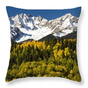 Autumn And Snow Covered Peaks North Throw Pillow
