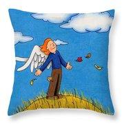 Autumn Angel Throw Pillow by Sarah Batalka