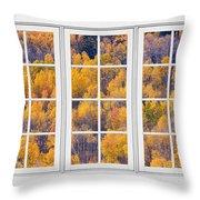 Autumn Aspen Trees White Picture Window View Throw Pillow