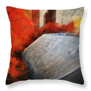 Autumn At Chicago Millennium Park Bp Bridge Mixed Media 03 Throw Pillow