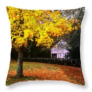 Autumn At Old Mill Throw Pillow