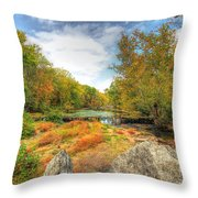 Autumn At The Creek - Green Lane - Pennsylvania - Usa Throw Pillow