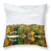 Autumn At The Lake - Pocono Mountains Throw Pillow by Vivienne Gucwa