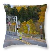 Autumn At Washington's Crossing Bridge Throw Pillow