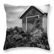 Autumn Barn - Upclose Cropped - Black And White Throw Pillow