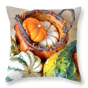 Autumn Basketful Throw Pillow