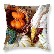 Autumn Basketful With Corn Throw Pillow