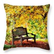 Autumn Bench In The Garden  Throw Pillow