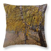 Autumn Bench Throw Pillow