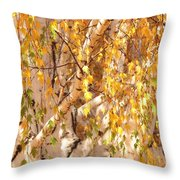 Autumn Birch Leaves Throw Pillow