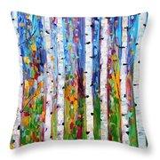 Autumn Birch Trees Abstract Throw Pillow