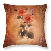 Autumn Blooming Mum Throw Pillow