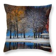 Autumn Blues Throw Pillow