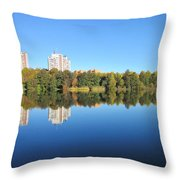 Autumn By The Triangle Lake In Stockholm Throw Pillow