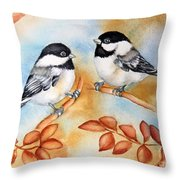 Autumn Chickadees Throw Pillow