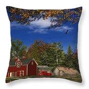 Autumn Church Row Throw Pillow