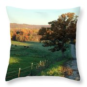 Autumn Color On Rolling Hills And Farmland Throw Pillow