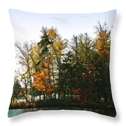 Autumn Color On The Fulton Chain Of Lakes Throw Pillow