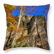 Autumn Colors In The Saxon Switzerland Throw Pillow