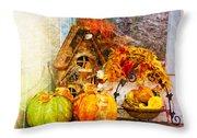 Autumn Display - Pumpkins On A Porch Throw Pillow
