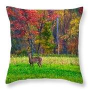 Autumn Doe - Paint Throw Pillow
