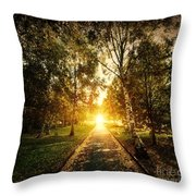 Autumn Fall Park Throw Pillow