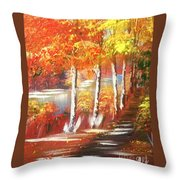 Autumn Falling Leaves  Throw Pillow