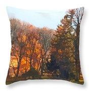 Autumn Farm With Harrow Throw Pillow