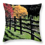 Autumn Fence And Shadows Throw Pillow
