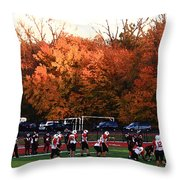 Autumn Football With Dry Brush Effect Throw Pillow