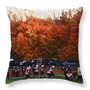 Autumn Football With Sponge Painting Effect Throw Pillow