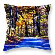 Autumn Forest Road V6 Throw Pillow