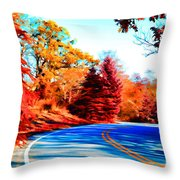Autumn Forest Road V7 Throw Pillow