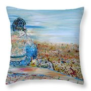 Autumn - Girl At The Lake Throw Pillow