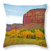 Autumn Gold On Highway 211 Going Into Needles District Of Canyonlands National Park-utah   Throw Pillow