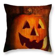 Autumn - Halloween - Jack-o-lantern  Throw Pillow by Mike Savad