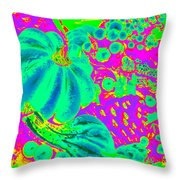 Autumn Harvest In Green And Purple - Pop Art Throw Pillow