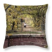 Autumn Hike On The C And O Canal Towpath At Seneca Creek Throw Pillow