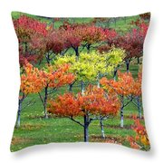 Autumn Hillside Orchard Throw Pillow