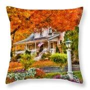 Autumn - House - The Beauty Of Autumn Throw Pillow
