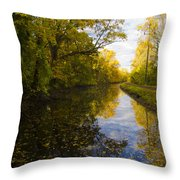 Autumn In Morrisville Pa Along The Delaware Canal Throw Pillow