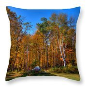 Autumn In North River New York Throw Pillow