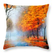 Autumn In The Morning Mist Throw Pillow