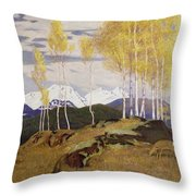 Autumn In The Mountains Throw Pillow by Adrian Scott Stokes