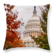 Autumn In The Us Capitol Throw Pillow