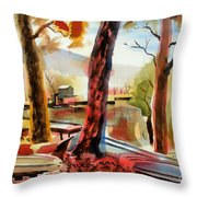 Autumn Jon Boats I Throw Pillow