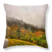 Autumn Just Around The Bend Blue Ridge Parkway In Nc Throw Pillow
