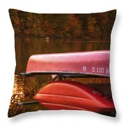 Autumn Kayaks On Newport Lake Throw Pillow